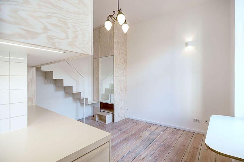 纯白明亮极简小户型跃层楼梯设计图_装修百科