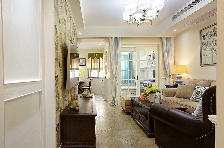 75平方美式设计风格小户型室内装修效果图_装修百科
