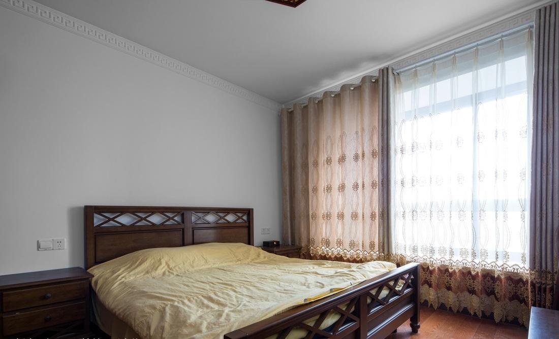 简中式装修风格卧室窗帘搭配效果图_装修百科