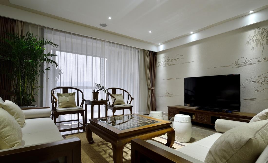 素雅简中式风格三居客厅实木沙发椅装饰效果图_装修百科