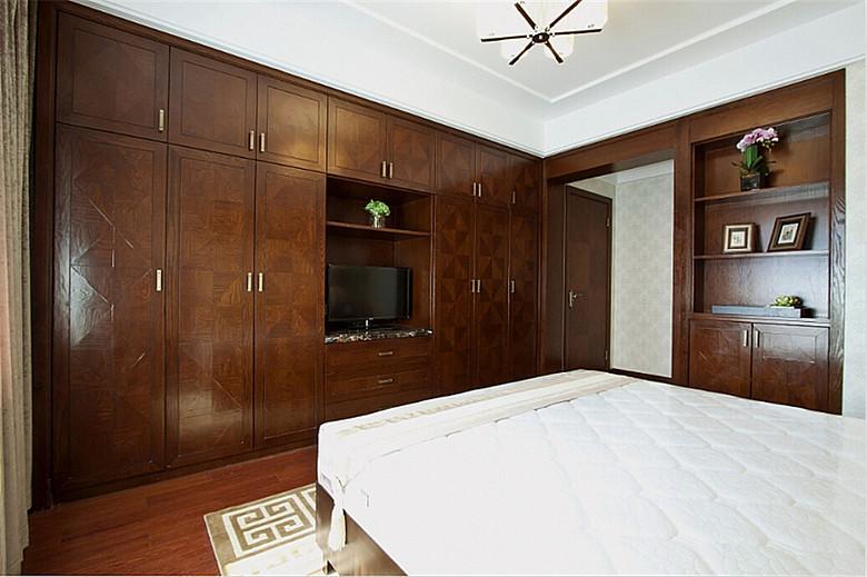 复古中式卧室实木订制衣柜家具效果图_装修百科