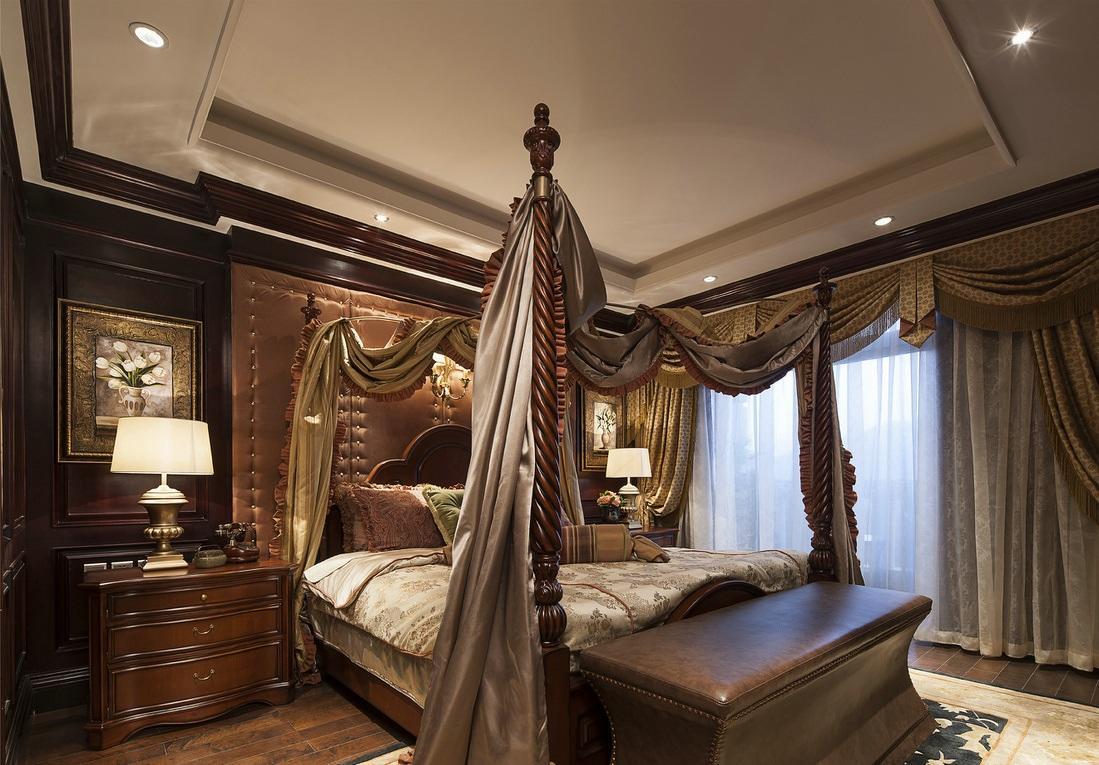 华贵古典欧式装修风格卧室软装布置搭配效果图_装修百科