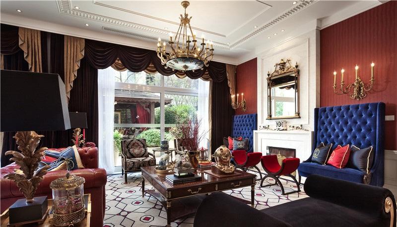 高贵奢华摩纳哥欧式风格客厅软装饰搭配效果图_装修百科