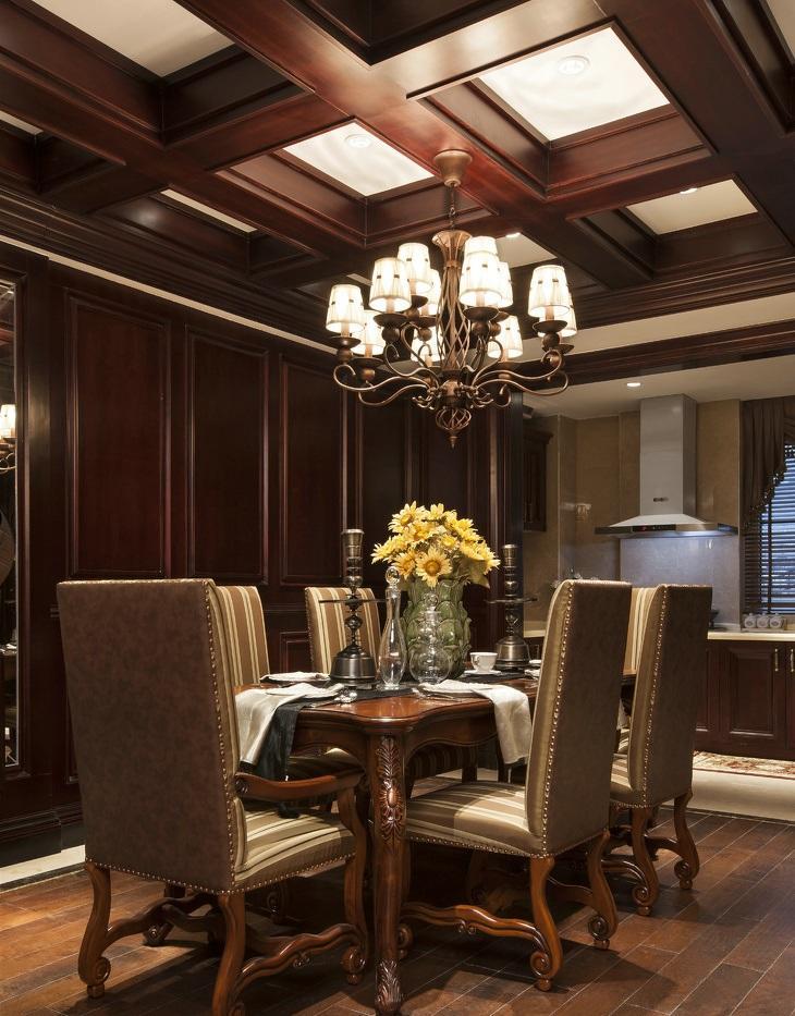 古典欧式风格餐厅实木吊顶效果图_装修百科