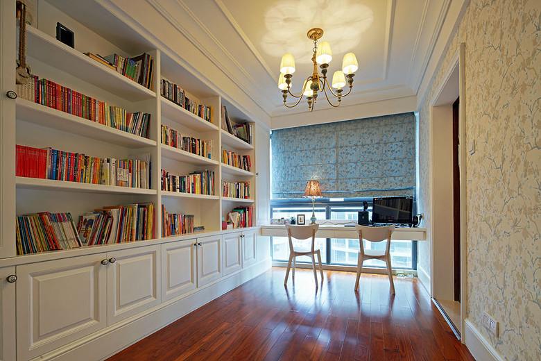 简约欧式风格书房订制书架设计效果图_装修百科