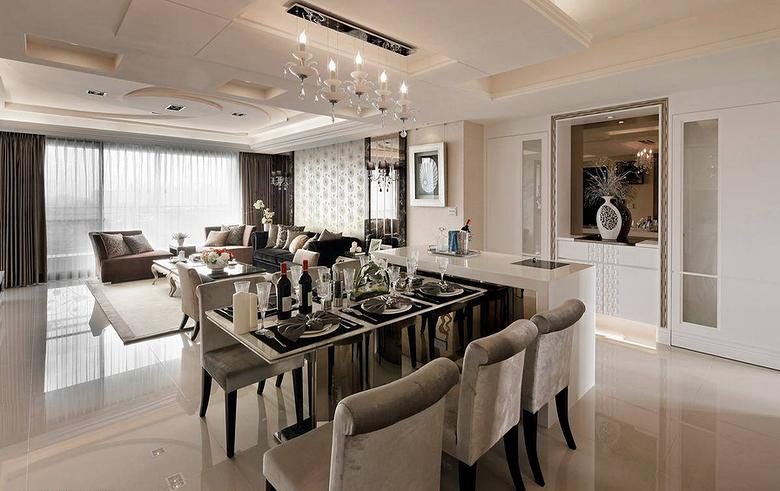 时尚优雅现代欧式餐厅大理石吧台设计效果图_装修百科