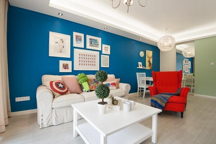 美式现代设计风格三室一厅相片墙效果欣赏图_装修百科