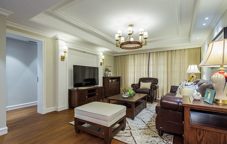 自然怀旧美式风格客厅窗帘搭配效果图