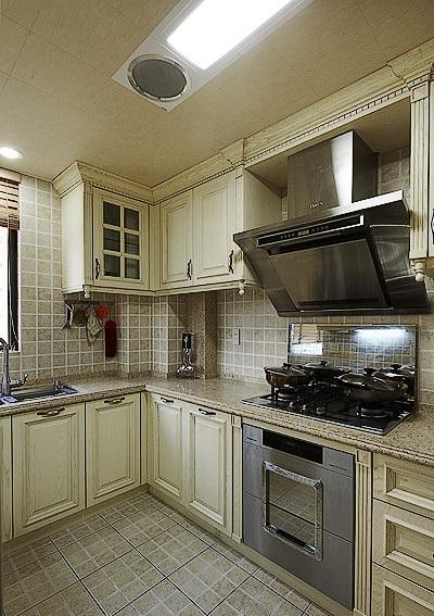 复古时尚欧式风格厨房装修效果图_装修百科