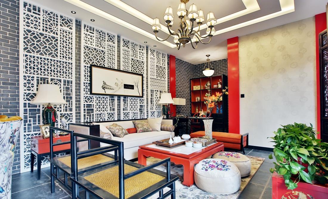 紅色靚麗新中式風格客廳布置裝飾效果圖