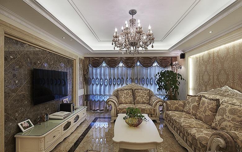 丰裕华丽复古优雅欧式风格客厅软装饰效果图_装修百科