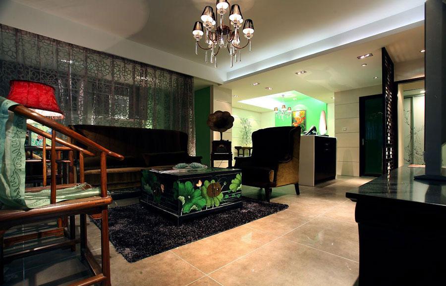 翠綠清新中式三室兩廳設計裝修效果圖