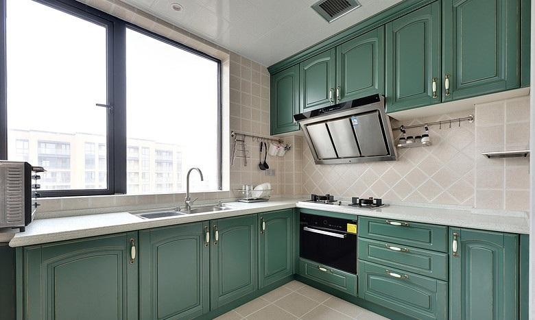 耳目一新灰绿色清新美式厨房设计装修效果图