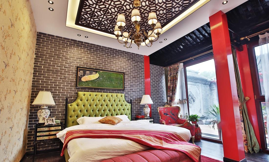 红色靓丽新中式风格卧室吊顶装修效果