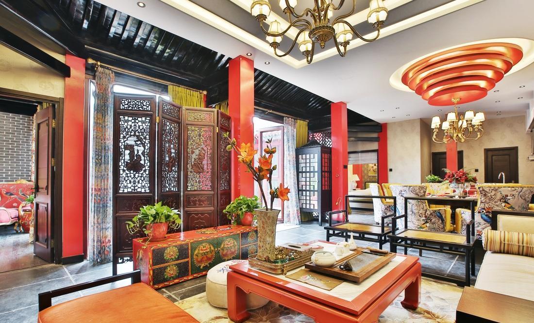 紅色靚麗新中式風格四合院家居裝修效果圖