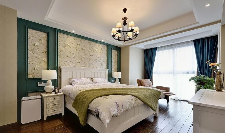 清新美式风格卧室床头背景墙效果图_装修百科图片