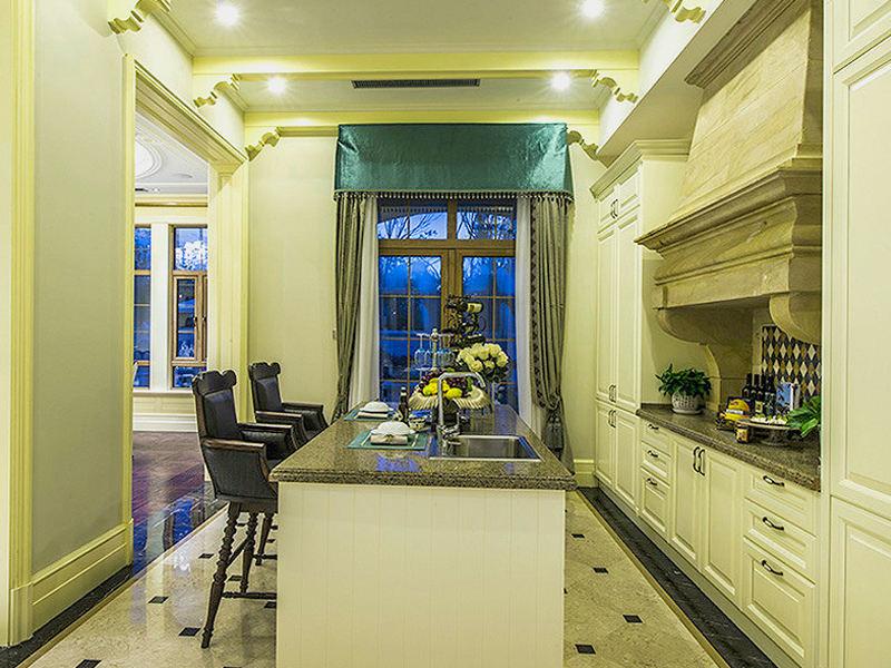 绿色欧式风格厨房设计装修案例图