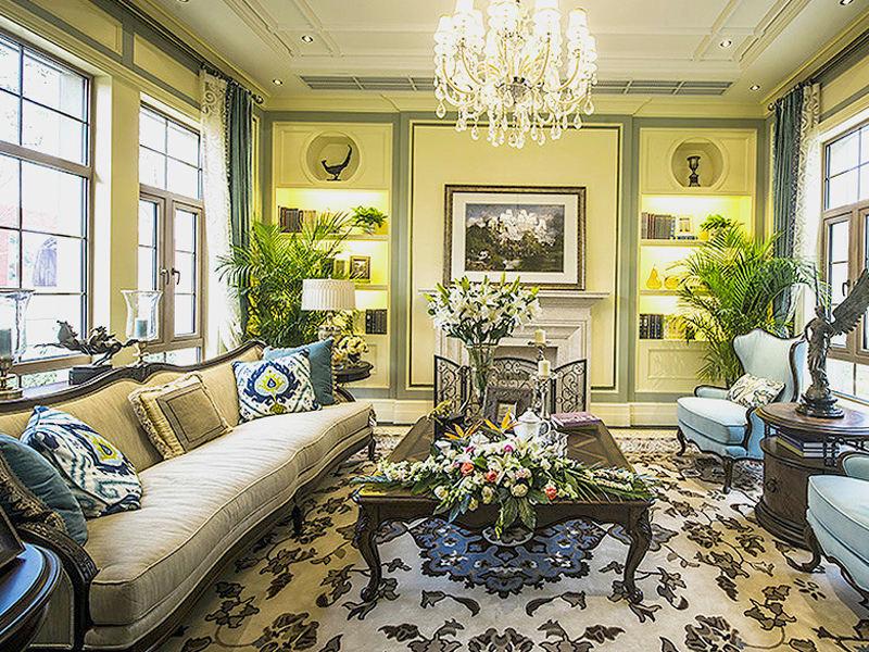 绿色古典欧式别墅风格客厅装修案例图
