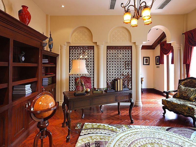 高贵大气复古欧式风格别墅书房装修效果图