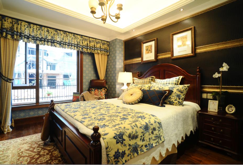 复古欧式装修风格别墅卧室高背床装饰效果图_装修百科