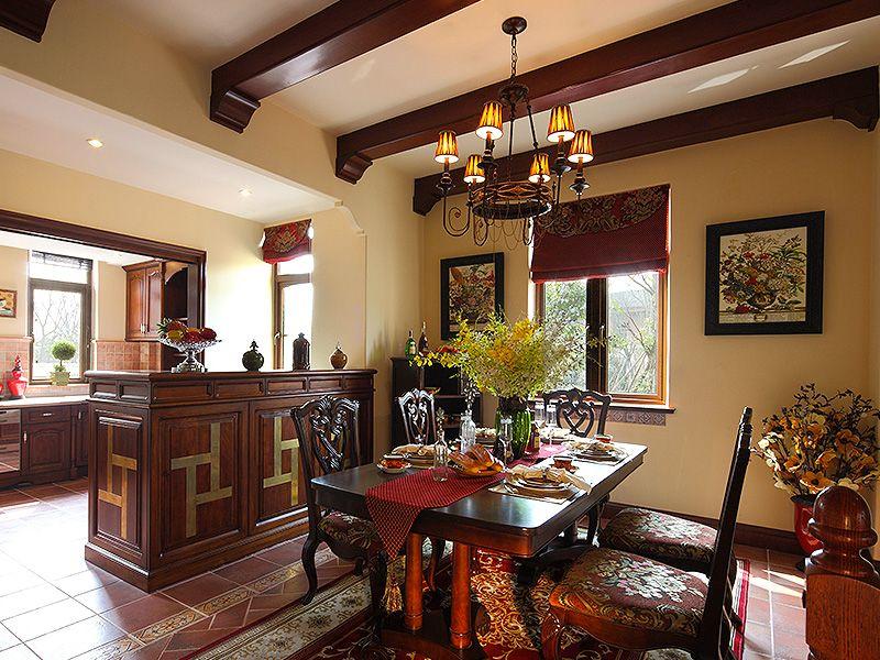 高贵大气复古欧式风格别墅餐厅吊顶效果图_装修百科