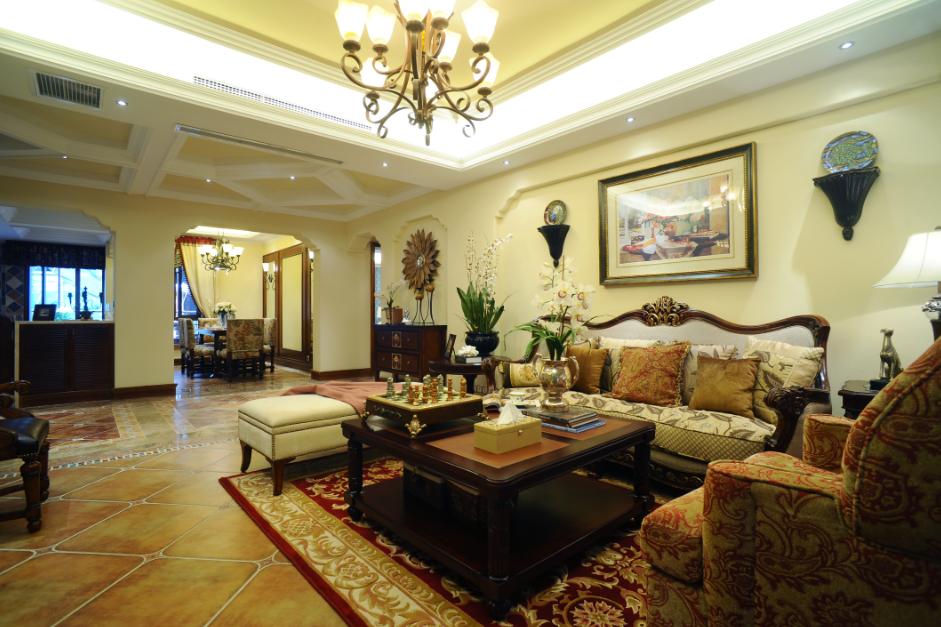 复古欧式装修风格别墅客厅相片墙设计效果图片_装修百科