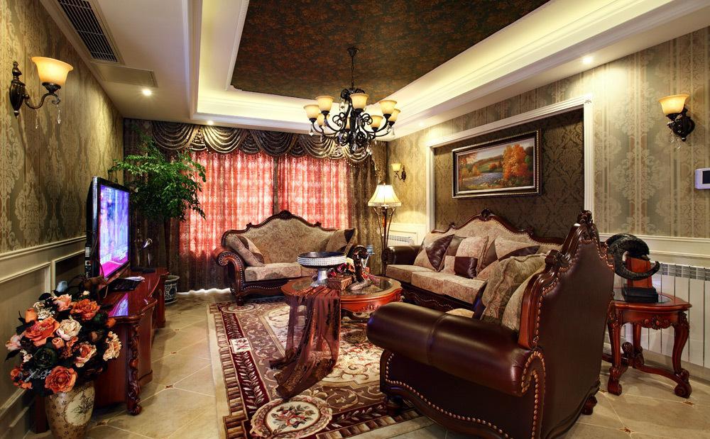 高贵欧式复古风格别墅客厅设计装潢美图欣赏_装修百科