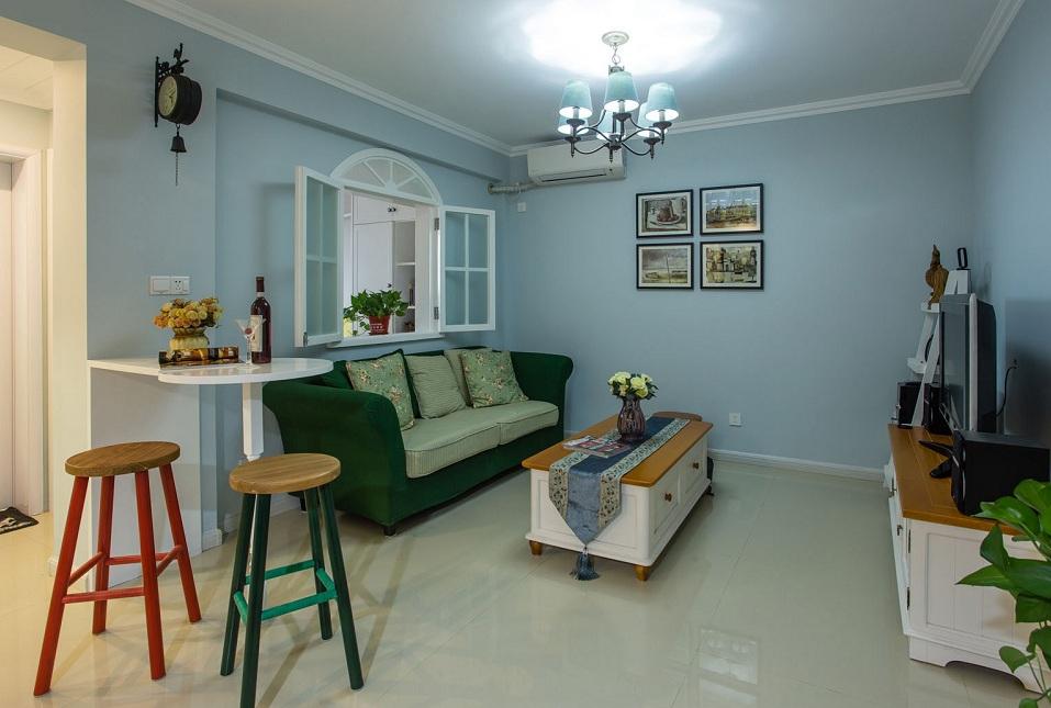 蓝色清新田园风格两室一厅装修欣赏图片