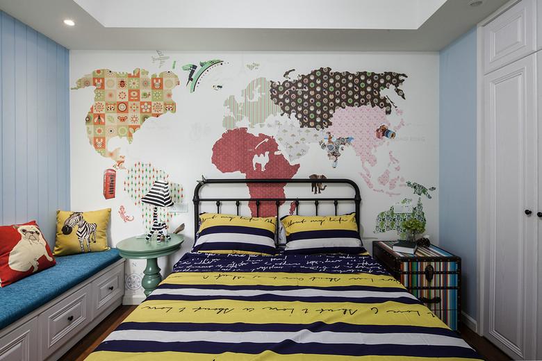 创意混搭儿童房艺术手绘墙设计装潢效果图_装修百科