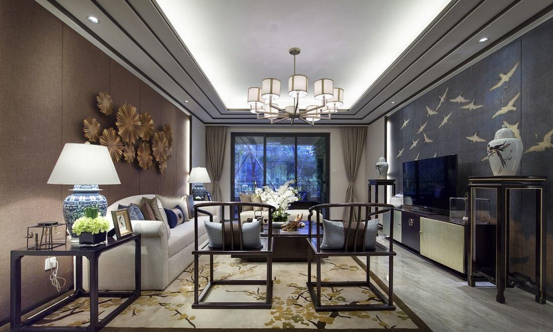 时尚新中式现代混搭客厅效果图_装修百科