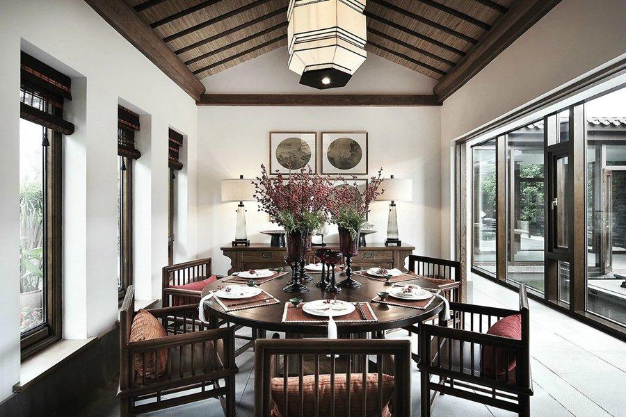 高贵典雅新中式餐厅红木餐桌效果图