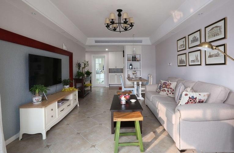 65平小户型复古简约美式风格混搭两居室装修效果图