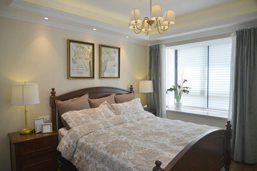 舒適簡美復古風臥室背景墻效果圖