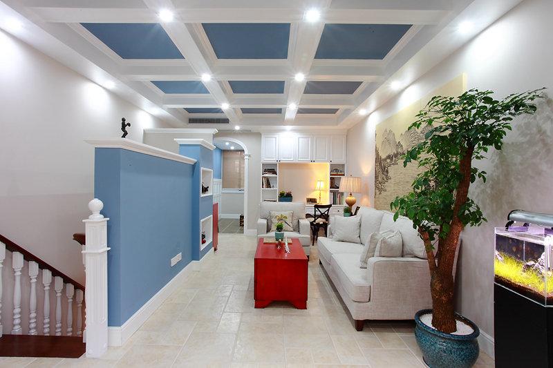 清新蓝白混搭风格小别墅装修效果图片