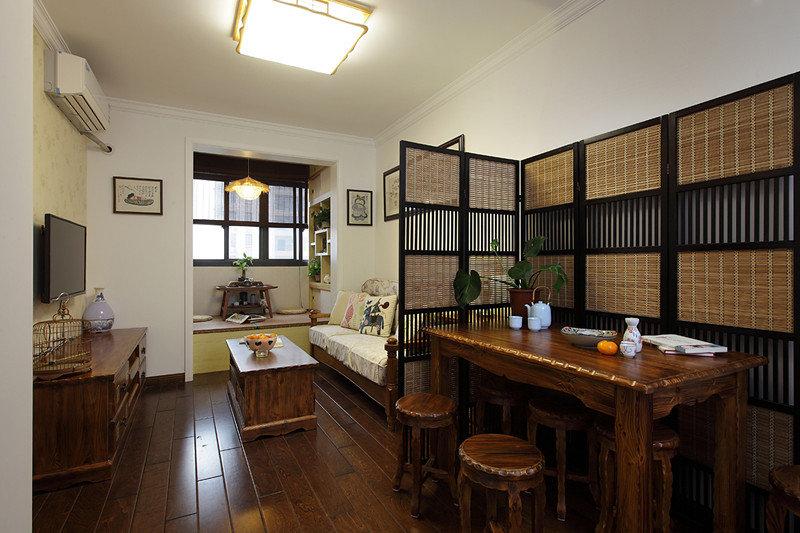 48平原木中式復古風一居室小戶型效果圖