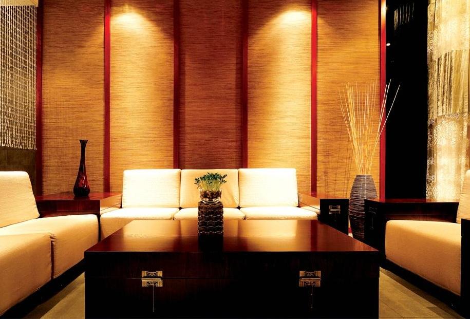 紅色艷麗后現代風格客廳背景墻裝修效果圖片