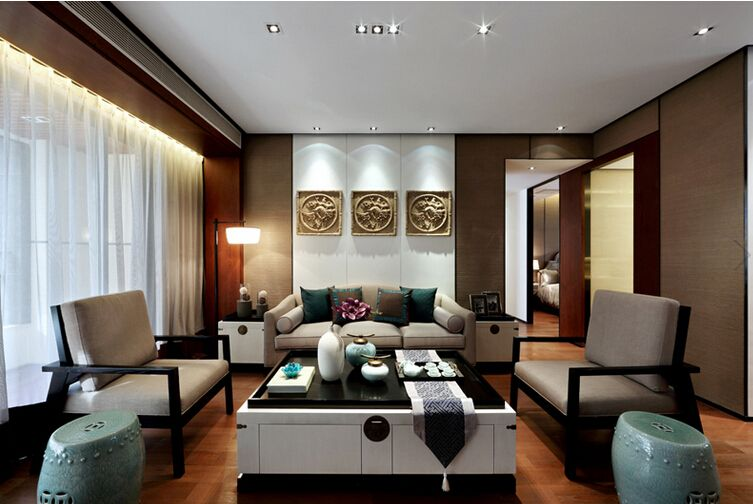 时尚奢华典雅新中式风格三居室效果图
