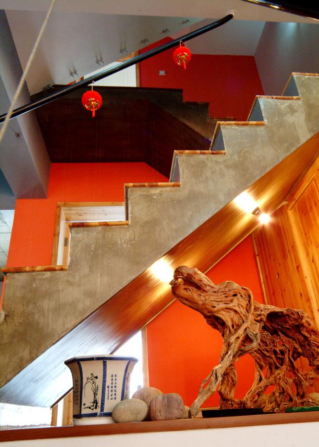 中式田園風格創意水泥樓梯裝修效果圖