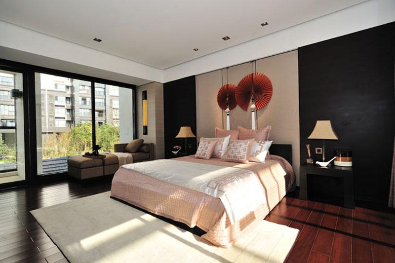 典雅新中式臥室背景墻效果圖