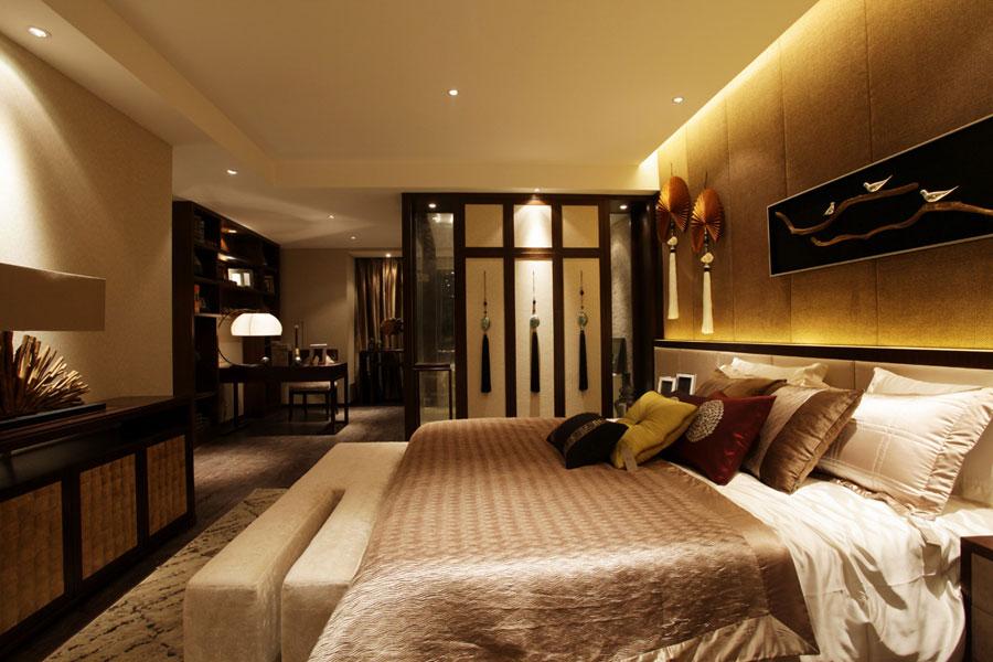 现代中式风格卧室屏风隔断设计效果图片