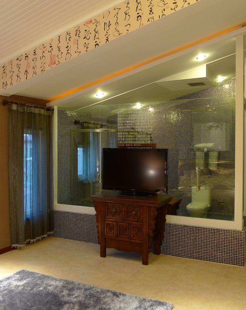 中式现代混搭客厅玻璃隔断效果图_装修百科