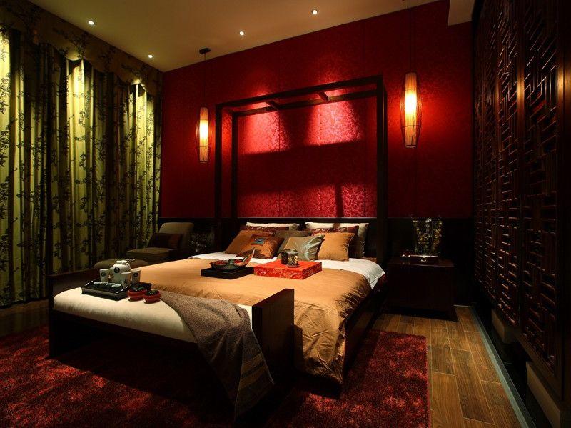 色彩濃重現代中式風格臥室設計效果圖片