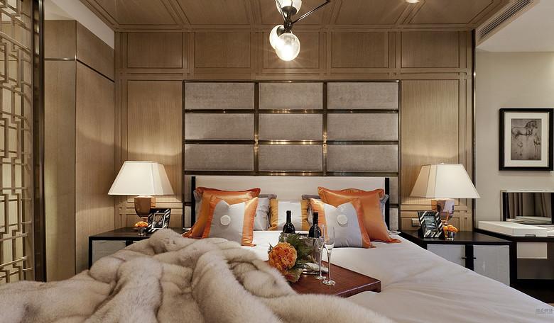 格调高雅现代中式风格卧室床头背景墙及吊顶效果图_装修百科