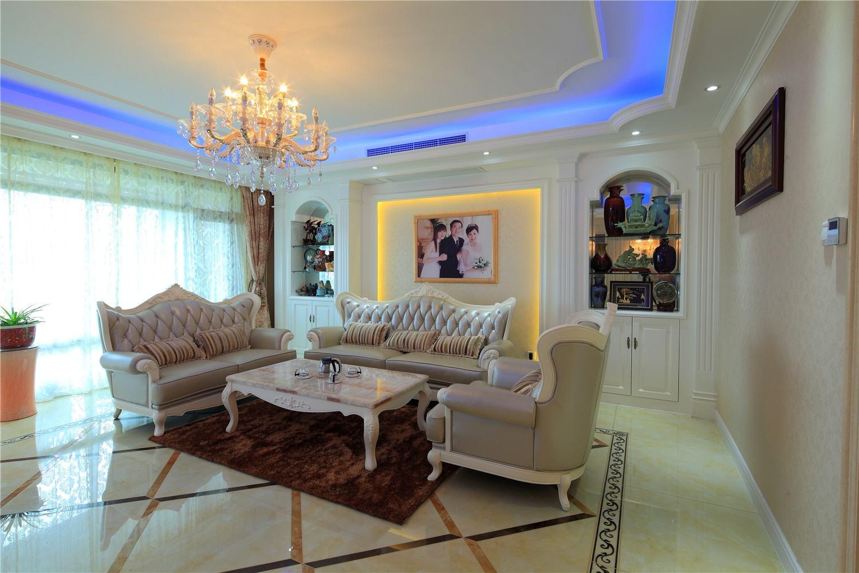 時尚大氣簡歐風格客廳燈具搭配設計效果圖