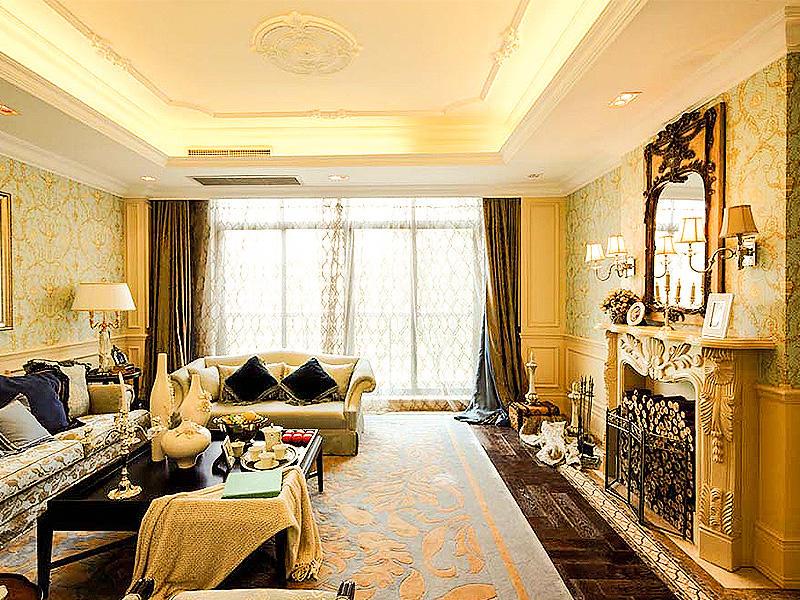 时尚复古奢华欧式别墅客厅背景墙装饰效果图_装修百科