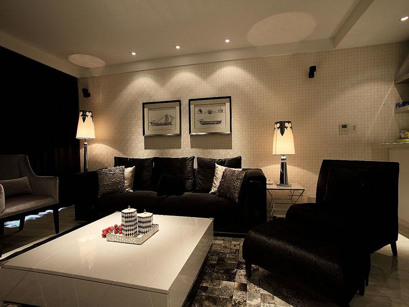 沉稳暗色调现代摩登客厅设计装饰图_装修百科