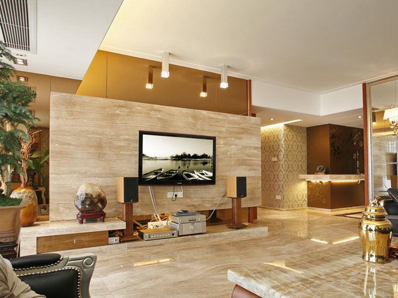 装修百科 装修效果图 装修美图 现代木纹砖客厅电视背景墙图片 现代