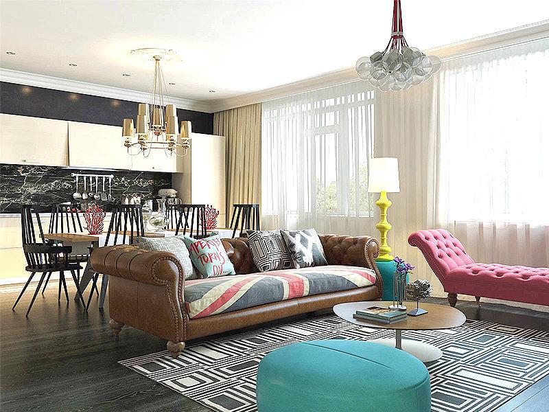 65平英式混搭二居室装修效果图