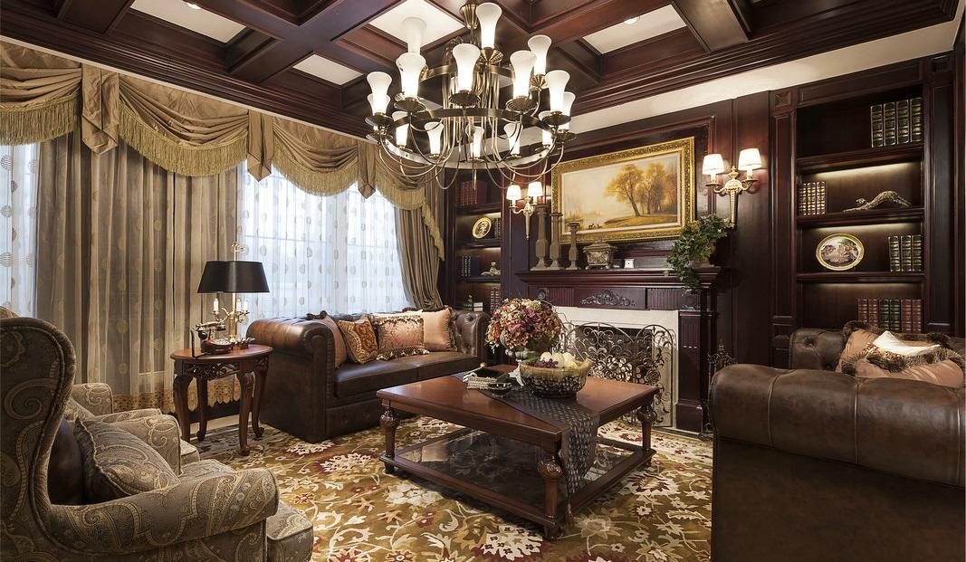 温馨古典豪华欧式别墅客厅装潢案例图_装修百科