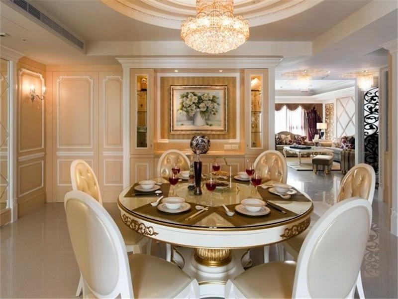 复古低奢欧式餐厅圆形餐桌效果图_装修百科